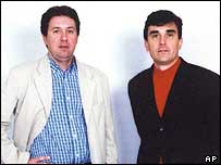 French reporters Christian Chesnot (left) and Georges Malbrunot, held hostage in Iraq