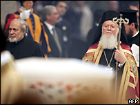 Ecumenical Patriarch Bartholomew I follows the reliquaries