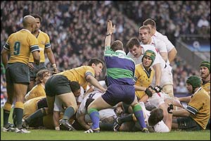 England celebrate Lewis Moody's try