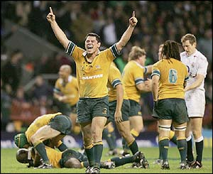 Jeremy Paul of Australia celebrates beating England