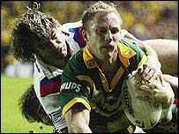 Australia captain Darren Lockyer touches down against Great Britain