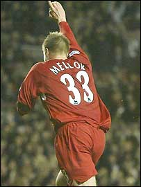 Neil Mellor celebrates scoring his last-gasp winner for Liverpool