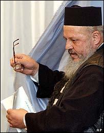 Orthodox monk voting at monastery