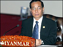 Burma's Prime Minister Soe Win sits at the start of the Asean summit in Vientiane Laos Monday, Nov. 29, 2004