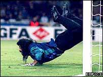 Colombia keeper Rene Higuita performs his spectacular 'scorpion kick' against England at Wembley