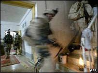 US troops raiding a house in Ramadi