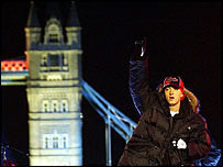 Eminem at Tower Bridge for Top of the Pops