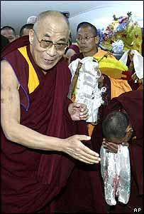 The Dalai Lama arrives in Elista, Kalmykia, in southern Russia