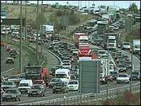A traffic jam on the M25