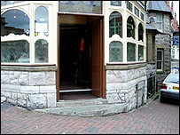 Photo of steps to pub entrance