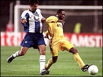Ali Daei playing for Hertha Berlin in the Champions League against Chelsea