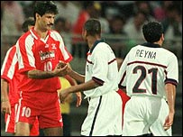 Ali Daei playing for Iran against USA
