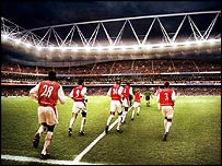 Artists impression of the Arsenal team running out at their new football stadium at Ashburton Grove