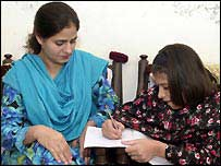 Shukria Gul (left) with her daughter