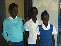 Viola, Andieu and Magdala, children at the Rainbow House in Haiti