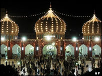 A mosque in Pakistan decorated for the Islamic month of Ramadan.