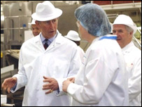 Prince Charles with Weetabix staff