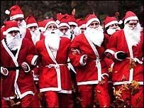 A group of Santas