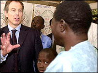 Blair in Africa in 2002