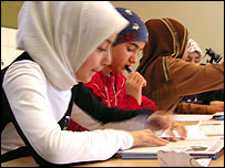 Children study at the Bedir Islamic school