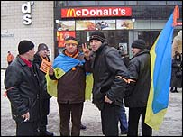 Yushchenko supporters outside Kiev McDonalds