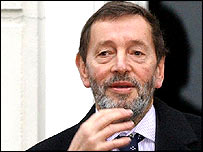 David Blunkett leaving home on Wednesday morning