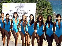 This handout photo shows a group of Miss World contestants posing during a photo session in Sanya, on China's southern resort island of Hainan 23 November 2004.