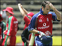 Michael Vaughan trudges off after being dismissed