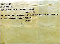 Houdini's telegram to Conan Doyle