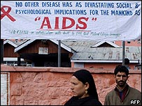 Aids awareness poster outside hospital in India
