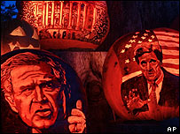 Images of George Bush and John Kerry on pumpkins, AP