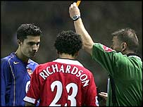 Van Persie and Richardson were booked over the clash