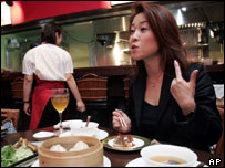 Woman in restaurant