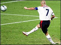 David Beckham misses penalty in Euro 2004