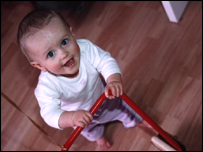 A child learning to walk