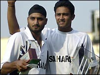 Harbhajan took seven wickets and Kumble's two equalled the record