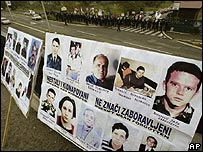 Posters depicting alleged victims of war crimes in the former Yugoslavia