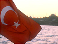Flag of Turkey with the Suleymaniye Mosque, Istanbul, behind