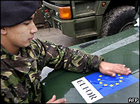 A European badge fixed to a vehicle in Bosnia