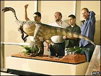 Researchers with model of Unaysaurus tolentinoi (AFP)