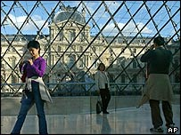 Inside the glass pyramid of the Louvre museum, Paris