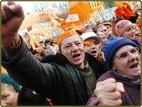 Supporters of Ukrainian opposition celebrate
