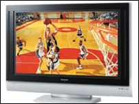 Basketball match on a high-definition broadcast