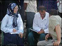 Peggy Gish, left, listens to a testimony at Najaf Human Rights Centre (pic: CPT)