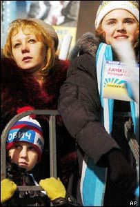 A young supporters of Ukraine's Viktor Yanukovych at a rally in Donetsk, Ukraine
