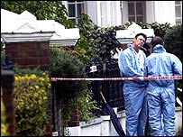 Police outside John Monckton's home