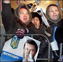 Yanukovych supporters at a rally in Donetsk