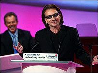 Bono and Tony Blair at Labour Party conference in September