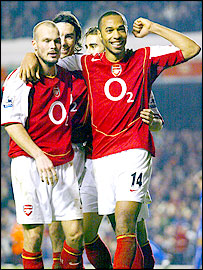 Arsenal striker Thierry Henry celebrates his second goal