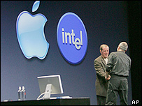 Image of Apple's Steve Jobs and Intel's paul Ottelini